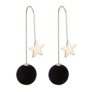 PREVIEW!! Black Ball Gold Star Threader Earrings